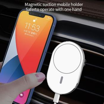 15W Wireless Car Charger Mount For iPhone 12 Mini Pro Max Qi Fast Charging Mount Air Vent Magnet Adsorbable Phone Car Holder image