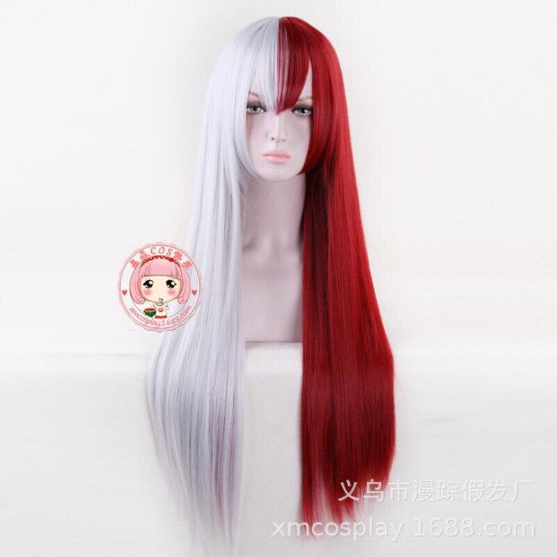 Meu herói academia cabelo vermelho e branco todoroki shoto mulher peruca longa cosplay traje boku nenhum herói academia festa de halloween perucas
