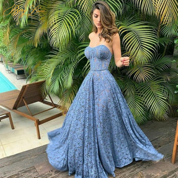 Vintage Blue Evening Dresses Long Gown Flower Lace Bodice Formal Dress Off Shouler Sweetheart Neck Party Dress A line Prom Dress embroidered bodice frilled dress