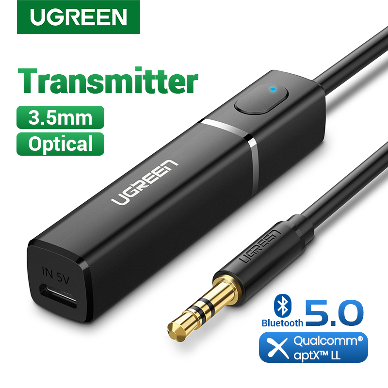 UGREEN Bluetooth Transmitter 5.0 Wireless Audio Music APTX LL Low Latency 3.5mm Aux Jack Digital Optical For Headphone Adapter