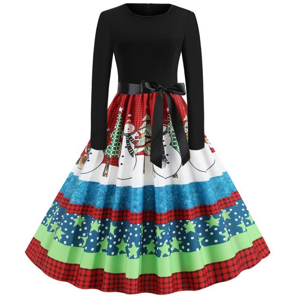 Closeout Deals¥Prom-Dress Women Vestido-De-Navidad Long-Sleeve Variety Housewife Christmas-1950s Evening-Party½