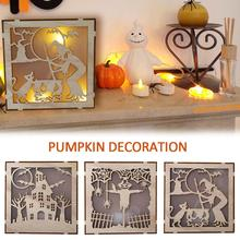 Wooden Halloween Square Computer Laser Hollow LED Lights Home Decoration Three-dimensional Ornaments Hanging