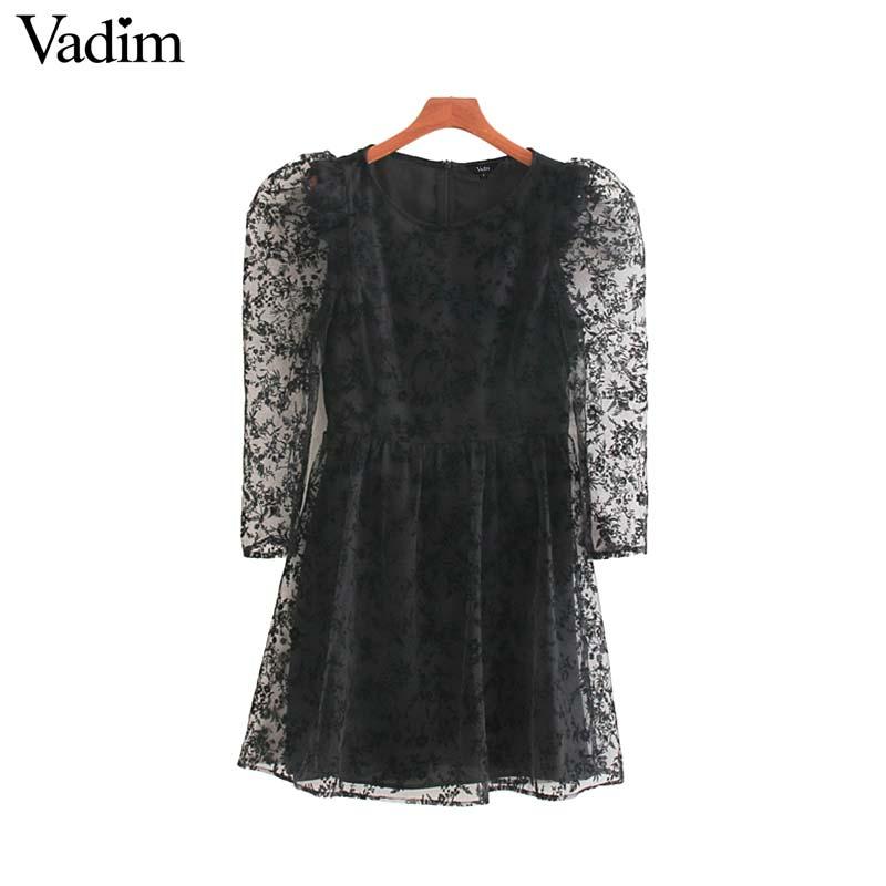 Vadim женское винтажное Сетчатое Дизайнерское черное мини платье с длинным пышным рукавом на молнии сзади женские повседневные платья трапециевидной формы vestidos QC829        АлиЭкспресс