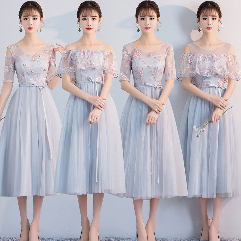 Wedding Party Dress Elegant Tea-Length Blue Gray Bridesmaid Dress Embroidery Sister Graduation Sexy Prom Simple Elastic Band