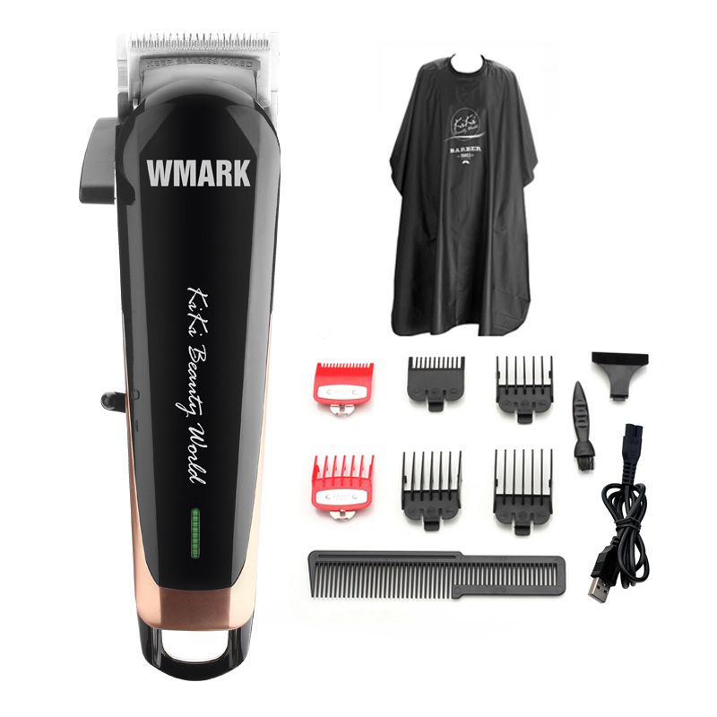 WMARK NG-103 Professional Cordless Hair Cutter Hair Trimmer 6500 Rpm Hair Clipper Adjustable Length With Stagger-Tooth Blade