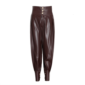 Image 2 - TWOTWINSTYLE PU Leather Ruched Womens Full Length Pant High Waist Tunic Lace Up Casual Trousers Female 2020 Fashion Clothes New