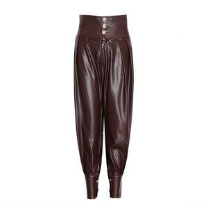 Image 2 - TWOTWINSTYLE PU Leather Ruched damska pełna długość spodnie spódnica z wysokim stanem zasznurować spodnie typu Casual kobieta 2020 modne ciuchy nowe
