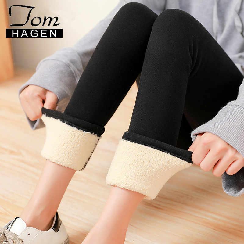 Tom Hagen sıcak kış tayt kadınlar kalın kadife yün pantolon kaşmir pantolon yüksek bel siyah polar popo tayt kızlar için
