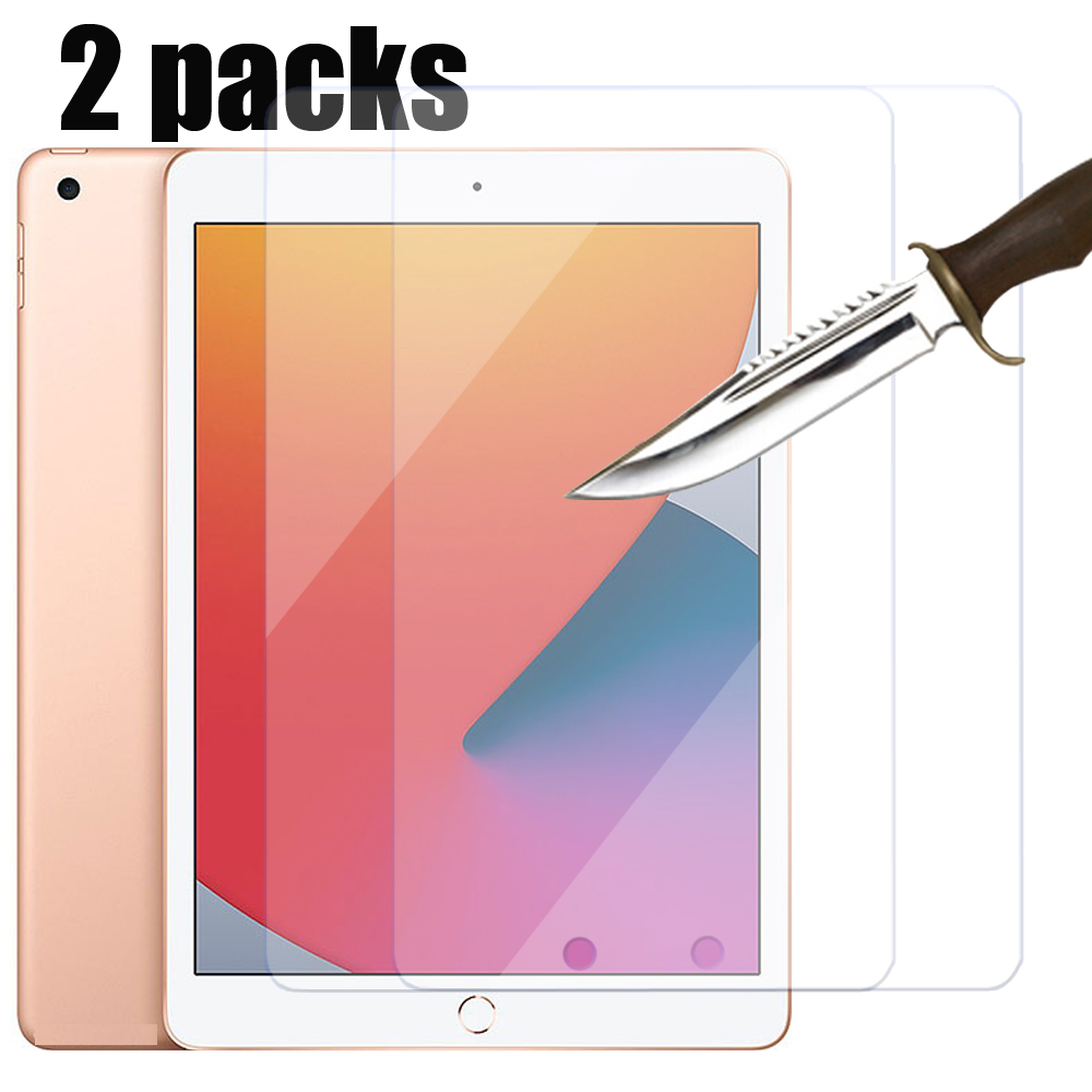 Pacotes de 2 4 vidro temperado protetor de tela para o ar Apple Ipad 4th 2 3 8th 4 pro 12.9 9.7 10.2 10.5 2020 2019 mini película protetora