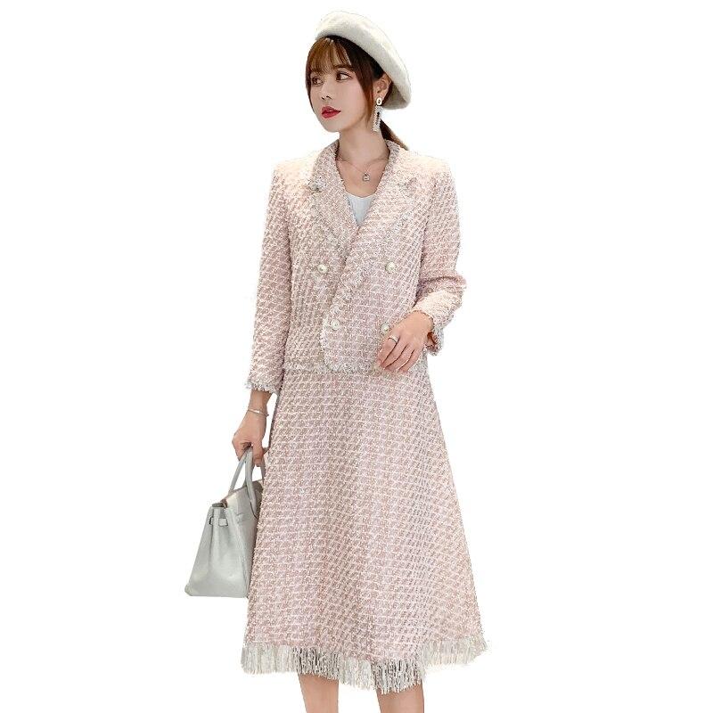 2019 piste femmes automne Tweed jupe ensemble 2 pièce ensemble femmes élégant bureau dame Tweed veste manteau + gland a-ligne Midi jupe costume
