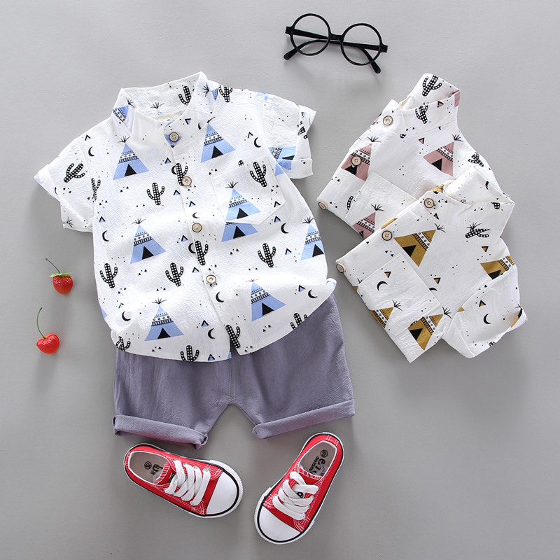 summer Children's suit Clothes Sets  children's clothing  Boys and girls Short sleeve shirt and Pants 2 pieces Clothing sets 6