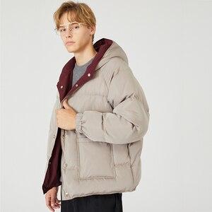Image 5 - 2019 Streetwear Hiphop Omkeerbare Jas Parka Mannen Gewatteerde Jas Windjack Harajuku Puffer Coat Warm Hooded Uitloper Losse Nieuwe