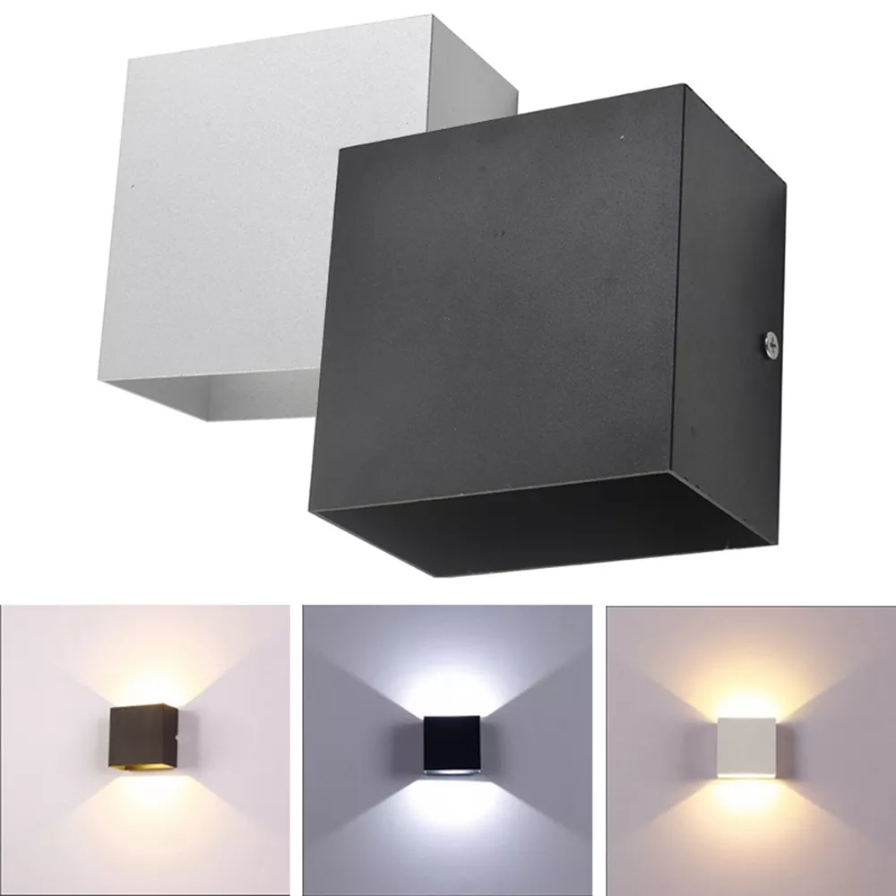 Dimmable 6W 85-265V Cube COB LED Indoor Lighting White/Black Wall Lamp Modern Home Lighting Decoration Sconce Lamp