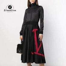 女性ロングドレスエレガントな黒のプリーツドレス長袖ジッパー高級レディースドレス秋
