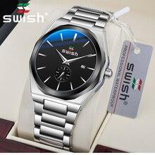 SWISH 2020 Auto Date Watch Men Luxury Silver Quartz Chronogr