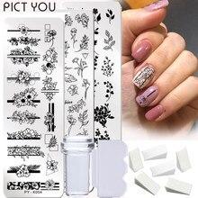 9 pçs/pçs/set placas de carimbo do prego geometria laço flor folhas com jelly stamper raspador esponja arte do prego imagem placa ferramentas