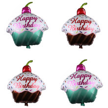 Happy Birthday Balloon Cake Foil Balloons Baby Shower Birthday Party Decoration Inflatable Air Balls Kids Toys Birthday Balloon animal head foil balloons tiger inflatable air balloon happy birthday party decoration helium balloon baby shower party supplies