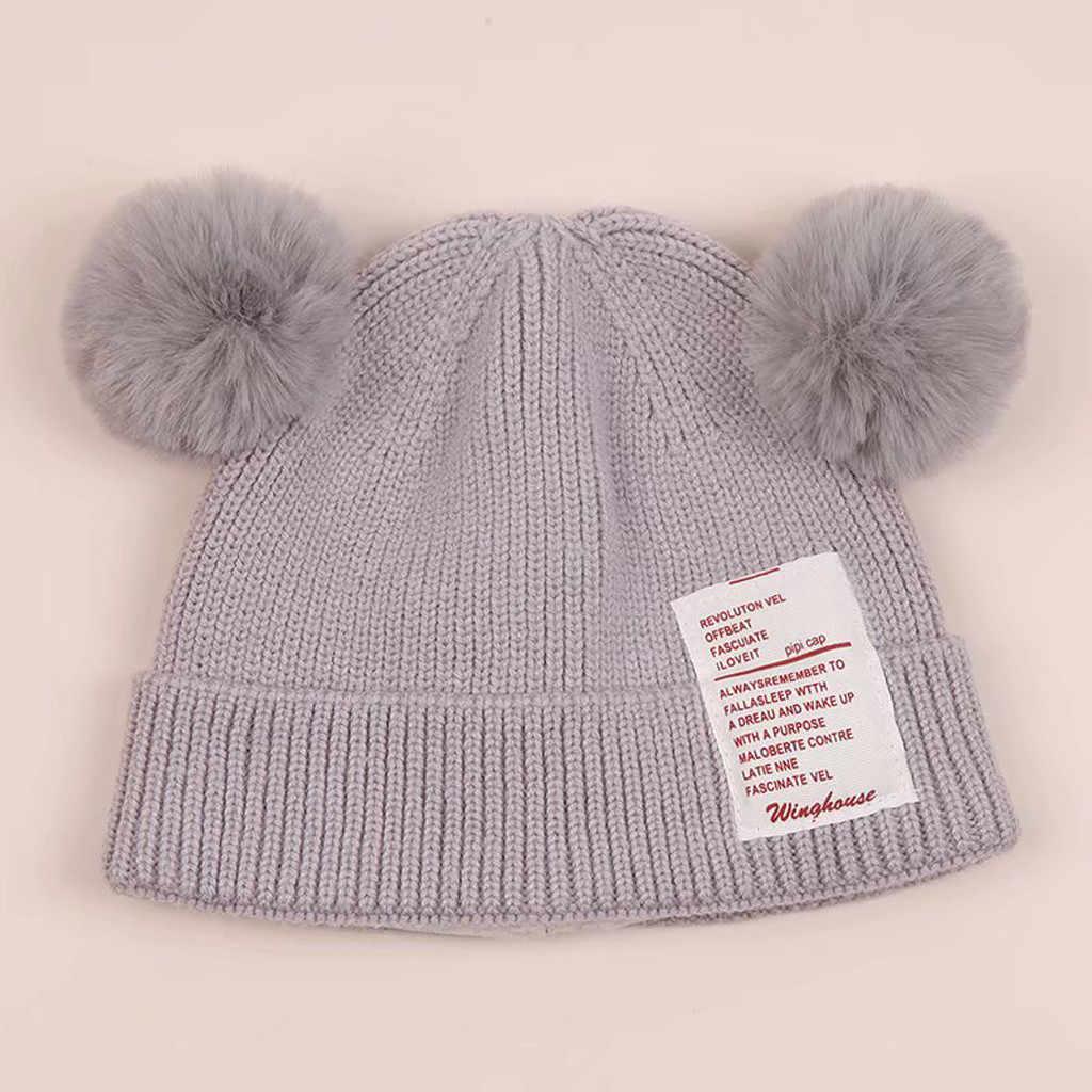 Kids Knited Hats Baby Double Pom Pom Photo Props Newborn Boy Girl Hat Cute Bear Toddler Earflap Beanie Warm Crochet Knit Cap