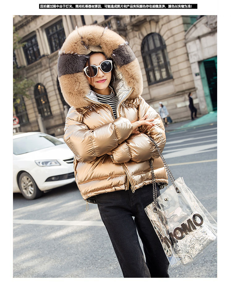 H2adf9d3e03b345bfaafaf821382459f3B Natural Fox Fur Winter Jacket Women Gold Warm Parka Real Fur Down Coat Female White Duck Down Jacket Winter Waterproof Overcoat