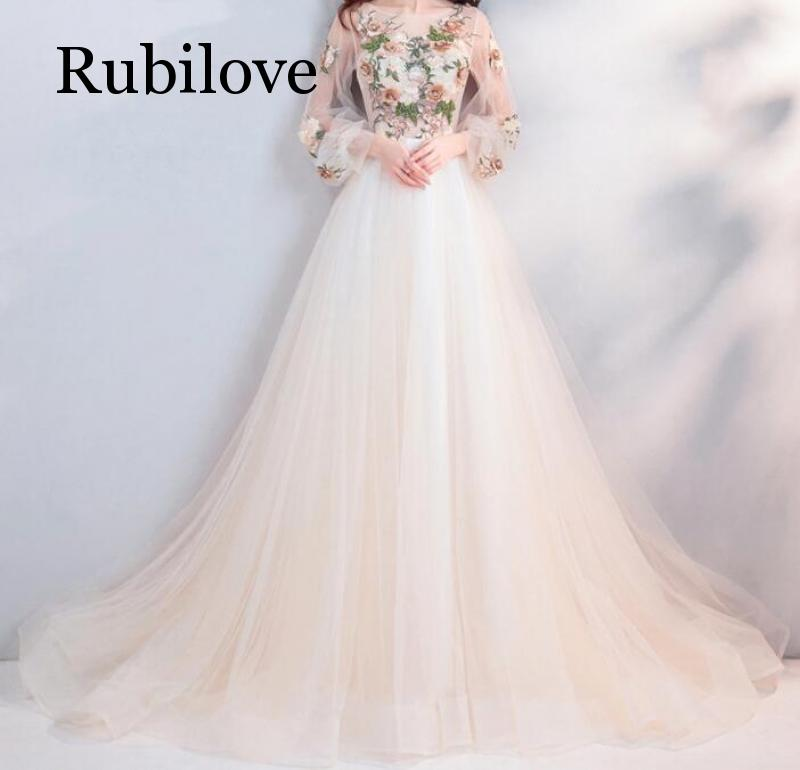 Rubilove Light champagne flower bride toast clothing dinner party annual performance long sleeve wedding dress