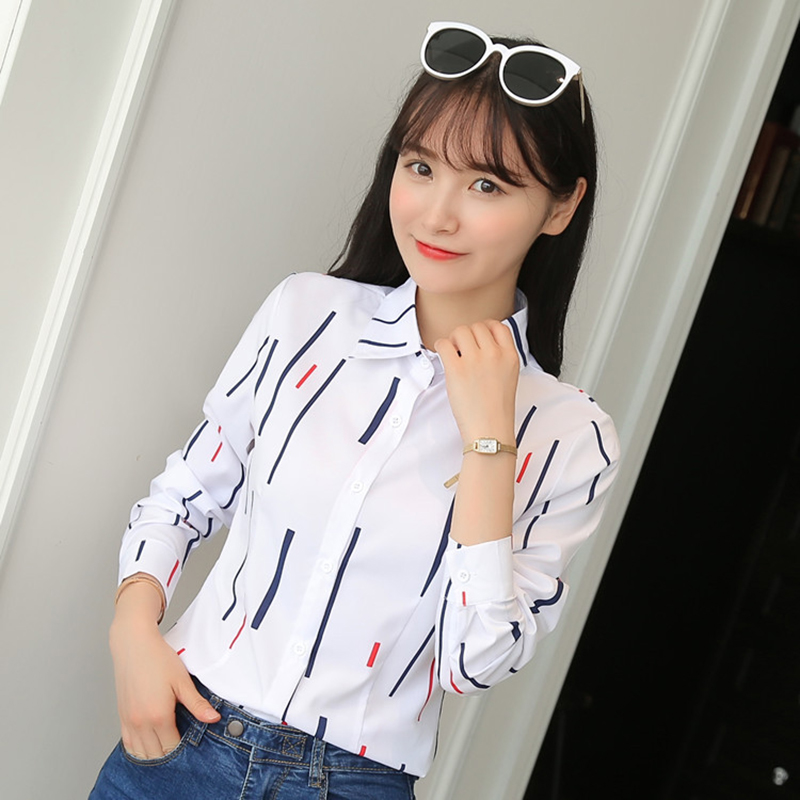 Korean Women Shirts OL Cotton Shirt Elegant Women Dot Print Blouse Shirts Blusas Mujer De Moda Woman Long Sleeve Shirt Plus Size