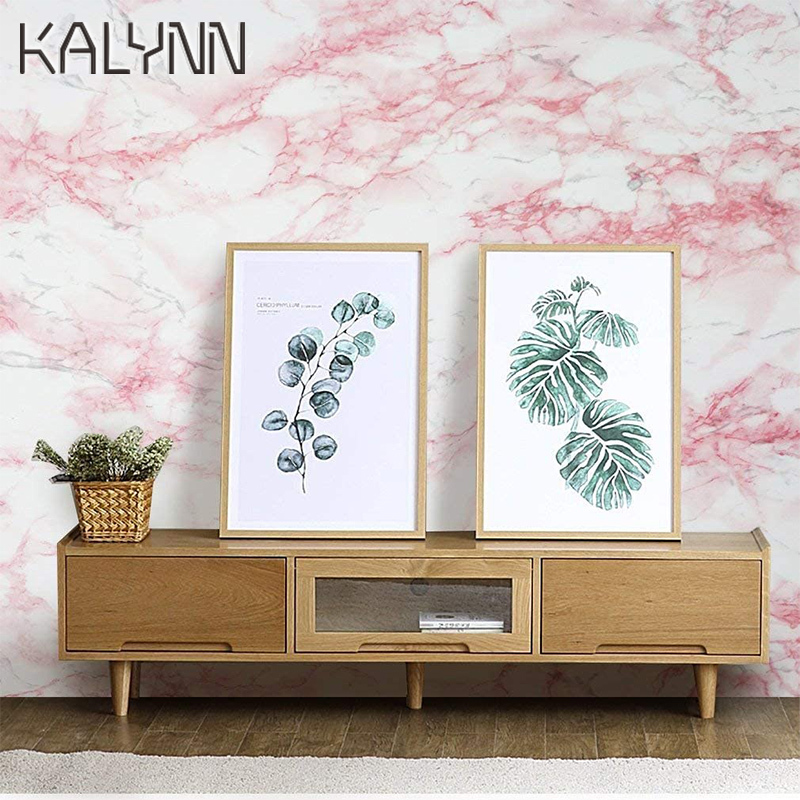 White/Pink Marble Self Adhesive Wallpaper for Panel Table Drawer Shelf Wall Sticker Contact Pape Vinyl Decorate Contact Paper 5m