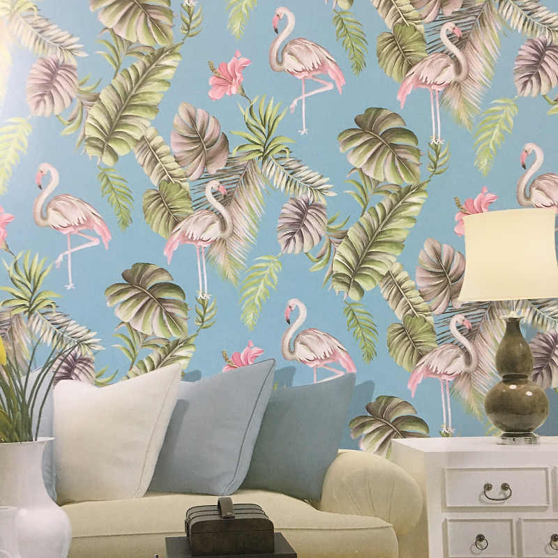One Flamingo with Two Butterflies Wall Mural Northern European Tropical Dark Green Banana Leaves Wallpaper Bedroom orLiving Room Wallpaper