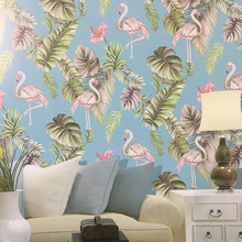 Flower and Bird Flamingo Tropical Leaves Wallpaper Nusery Room Bedroom Wall Paper Home Decor, Pink,Teal,Green