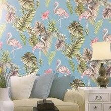 꽃과 새 플라밍고 열대 잎 벽지 Nusery 방 침실 벽 종이 홈 장식, 핑크, 청록색, 녹색