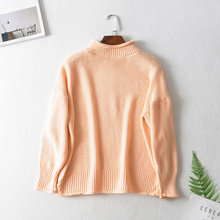 Простой Стиль женские Свитеры с высоким воротом пуловеры длинным