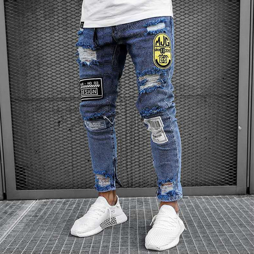 2019 Men's Fashion Vintage Ripped Jeans Homme Skinny Zipper Denim Pant Destroyed Frayed Trousers Cartoon Style Pants Streetwear image