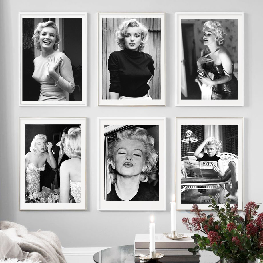 MARILYN MONROE PHOTO CANVAS PRINTS WALL ART PICTURES BLACK WHITE HOLLYWOOD STAR