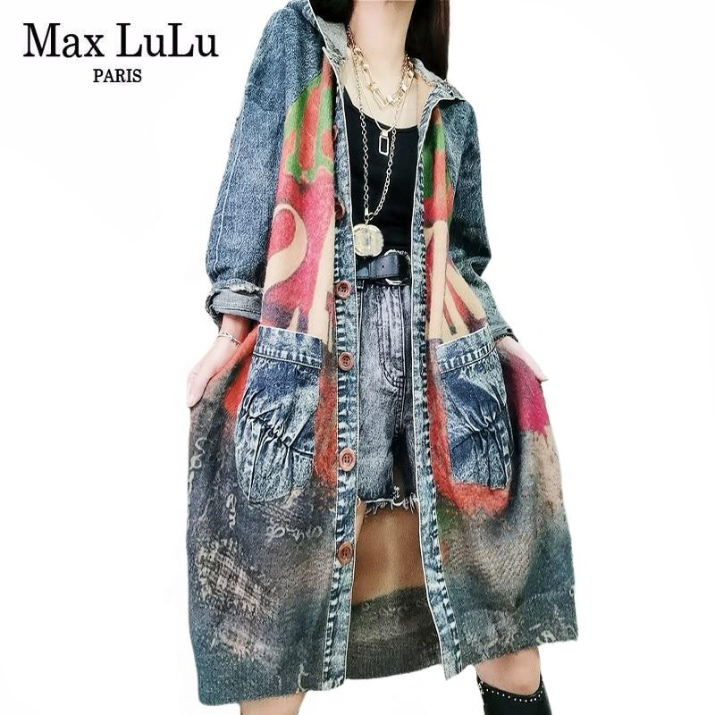 Max LuLu 2021 British Designer Autumn Womens Knitted Denim Trench Coat Ladies Hooded Windbreakers Female Patchwork Long Clothing