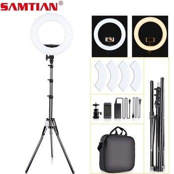 Anillo de luz SAMTIAN de 14 pulgadas, lámpara regulable de 384 uds, iluminación LED con trípode para estudio de fotografía, anillo de luz de maquillaje de YouTube