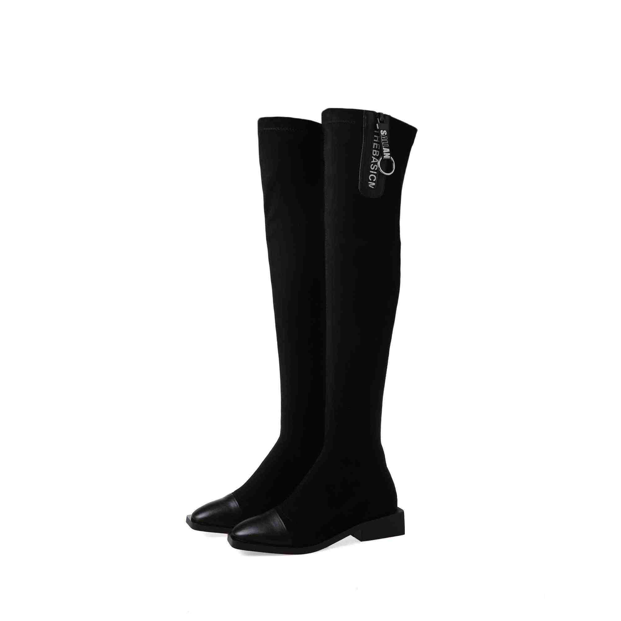 Krazing Nồi nóng phổ biến màu đen da bò co giãn Vuông Mũi Med gót khóa kéo giữ ấm mùa đông nữ trên- -Đầu gối Giày L71