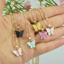 Unque Bijoux Femme Acrylic Butterfly Necklace Fashion Jewelr
