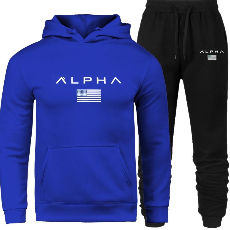 Men's Sets Hoodie And Pants Sweatsuit Tracksuit Men Set  Sporting Hoodies Suit Track Sweat Prints Alp Sportwear 2019 New Brand
