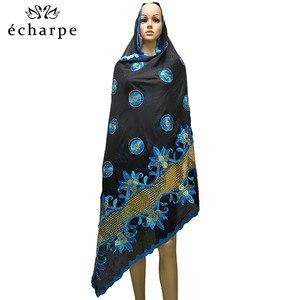 Image 3 - Mais recente africano muçulmano bordado lenço de algodão feminino, algodão bonito e econômico grande senhora cachecol para xales ec199