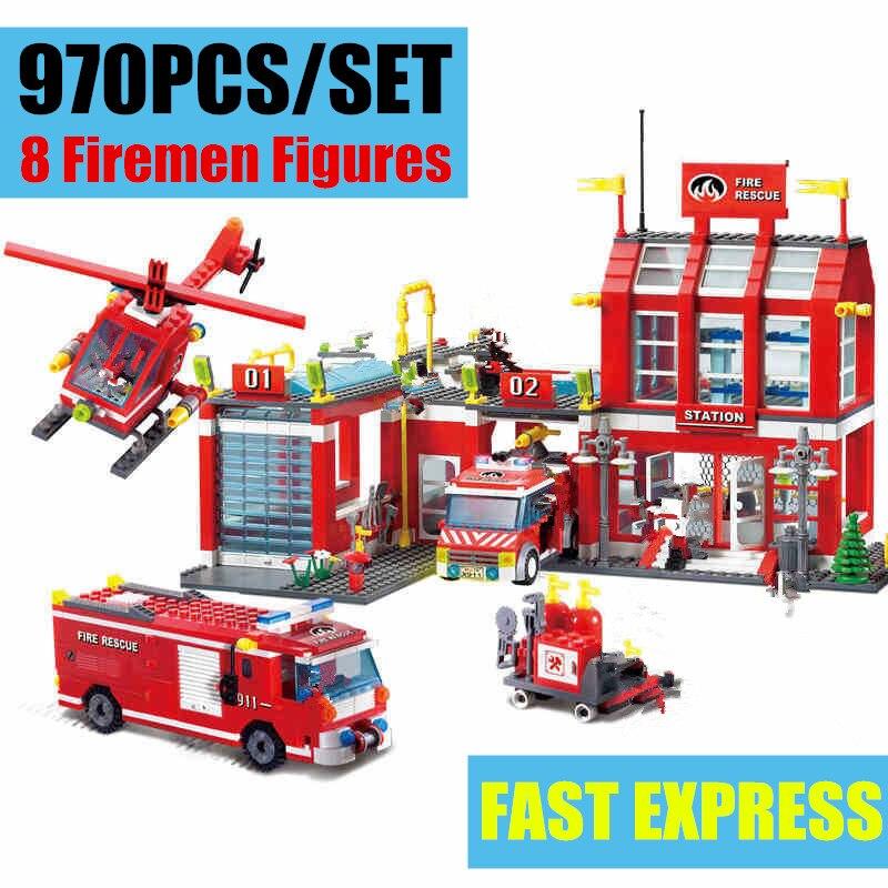 New City Fire Station Rescue Control Regional Bureau Fit City Figures Police Station Diy Toys Building