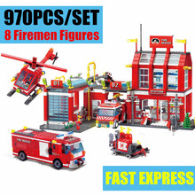 Enlighten City Set Series Fire Station Rescue Control Regional Bureau 911 Toys Building Blocks Compatible With lego gift set цены
