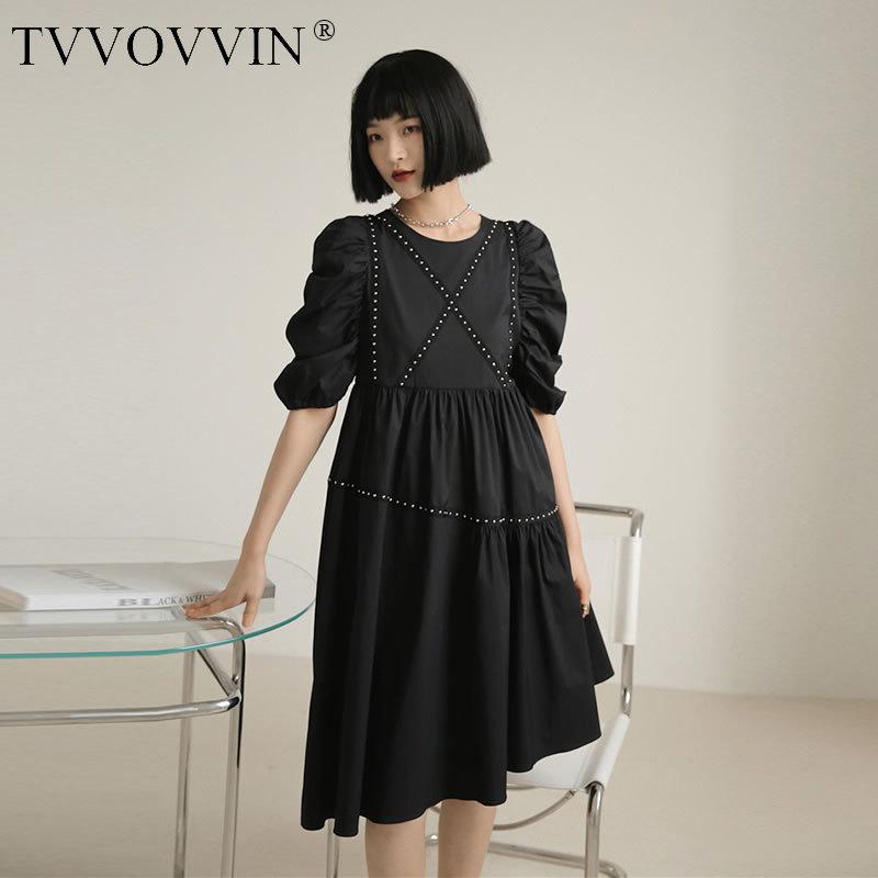 Korea Fashion Loose Studded Dress Women Trend Wild Black Pleated Irregular Dresses Elegant Women Clothes 2020 Summer DMY4886