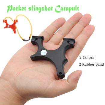 2 Colors Pocket Shooter Slingshot High-Precision Tie-Free Small  Easy To Carry Crooked Handle Catapult Bow and Arrow Crossbow