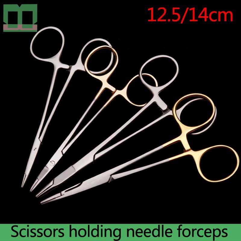 Needle holder sharp edge 12.5/14cm Scissors holding needle forceps surgical operating instrument double-eyelid tool