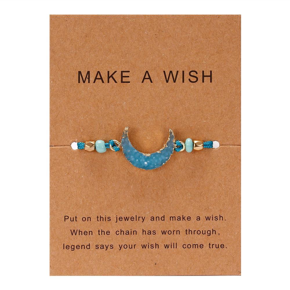 Rinhoo 1 шт. ручной работы сделать пожелание картон красочные Луна Форма из смолы плетеный браслет для женщин модные ювелирные изделия подарок - Окраска металла: BR18Y0723-2