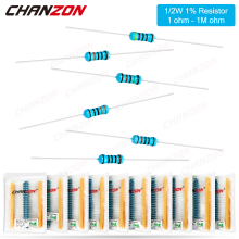 100 Pcs 1/2W 1% Metal Film Resistors 1ohm - 1M ohm 1/2 Watt 0.5 W High Precision MF Fixed Resistance 1K 10K 47K 100K 4R7 2K2 2R2