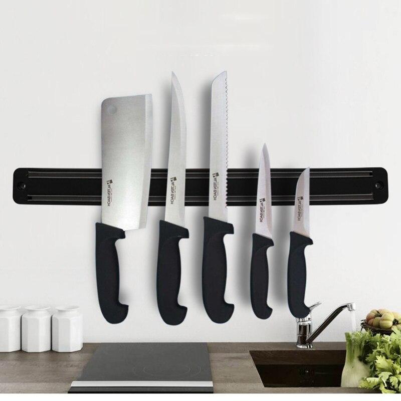Magnetic Knife Holder Wall Mount Black ABS Metal Knife For Placstic Block Magnet Knife Holder