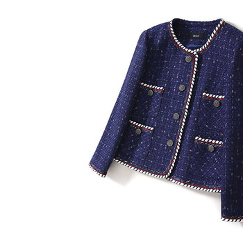 Office Ladies Elegant Patchwork Knitted Twist Tweed Suit Coats 2019 Spring Autumn Women Pockets Short Jackets Royal Blue Y022
