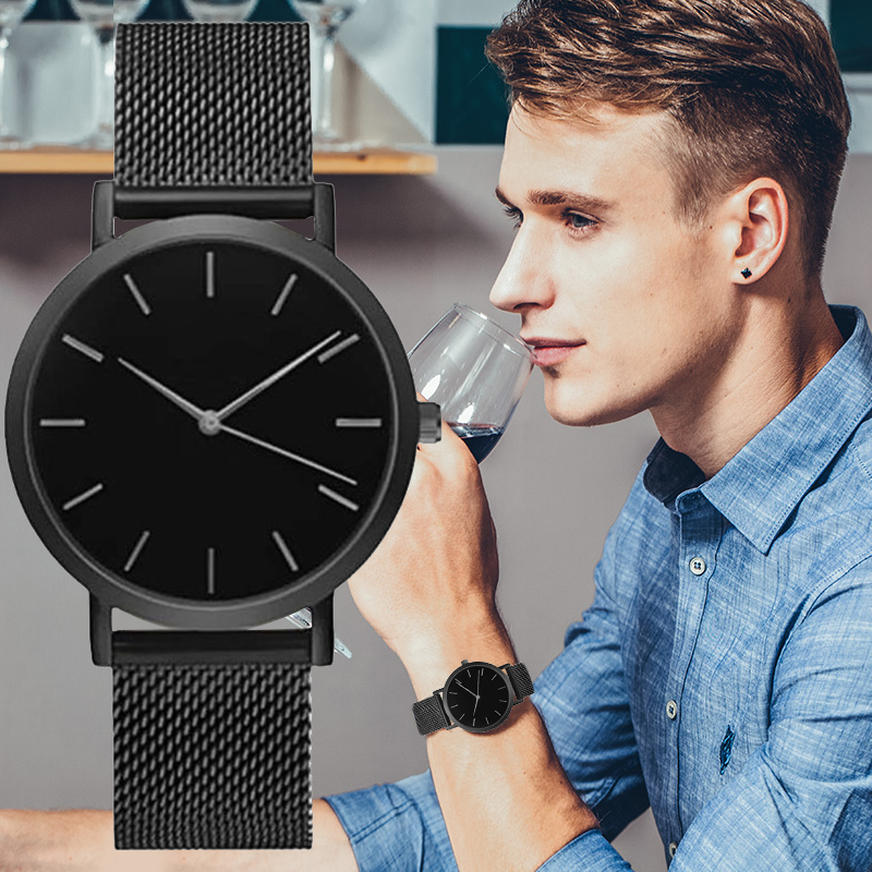 Fashion Simple Watches Men Black Stainless Steel Mesh Band Quartz Wristwatches Casual Men Watches Mens Watches Reloje Masculino