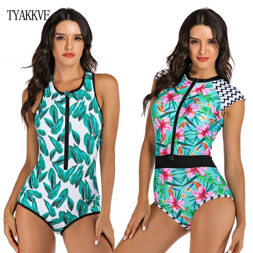Satu Potong Pakaian Renang 2020 Plus Ukuran Baju Renang Wanita Zip Up Monokini Baju Ruam Penjaga Baju Renang Backless Olahraga Pakaian Pantai