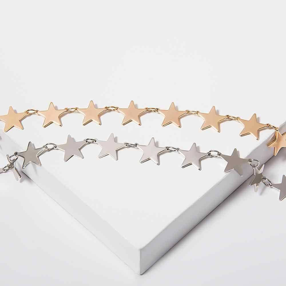 IngeSight. Z koreański śliczny miedziany gwiazda Choker naszyjnik Choker dla kobiet oświadczenie prosty minimalistyczny łańcuszek do obojczyka naszyjnik biżuteria
